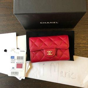 Chanel caviar 18b raspberry red pink card holder